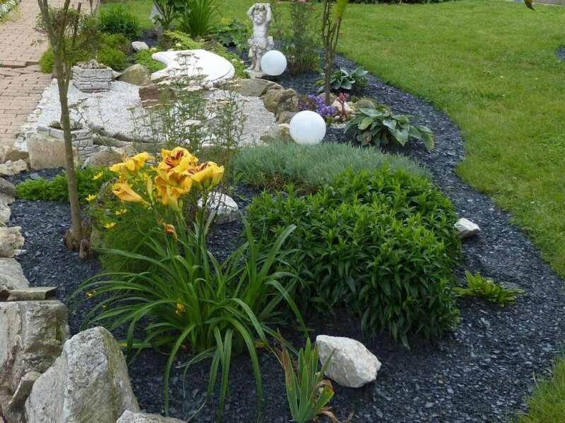 Schiefermulch 0 20 mm steinakzente for Gartengestaltung 20 qm