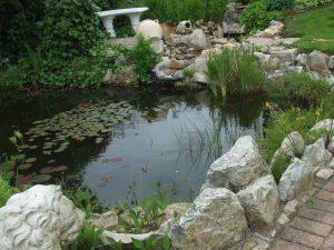 Teichanlage Wasserbausteine Hell