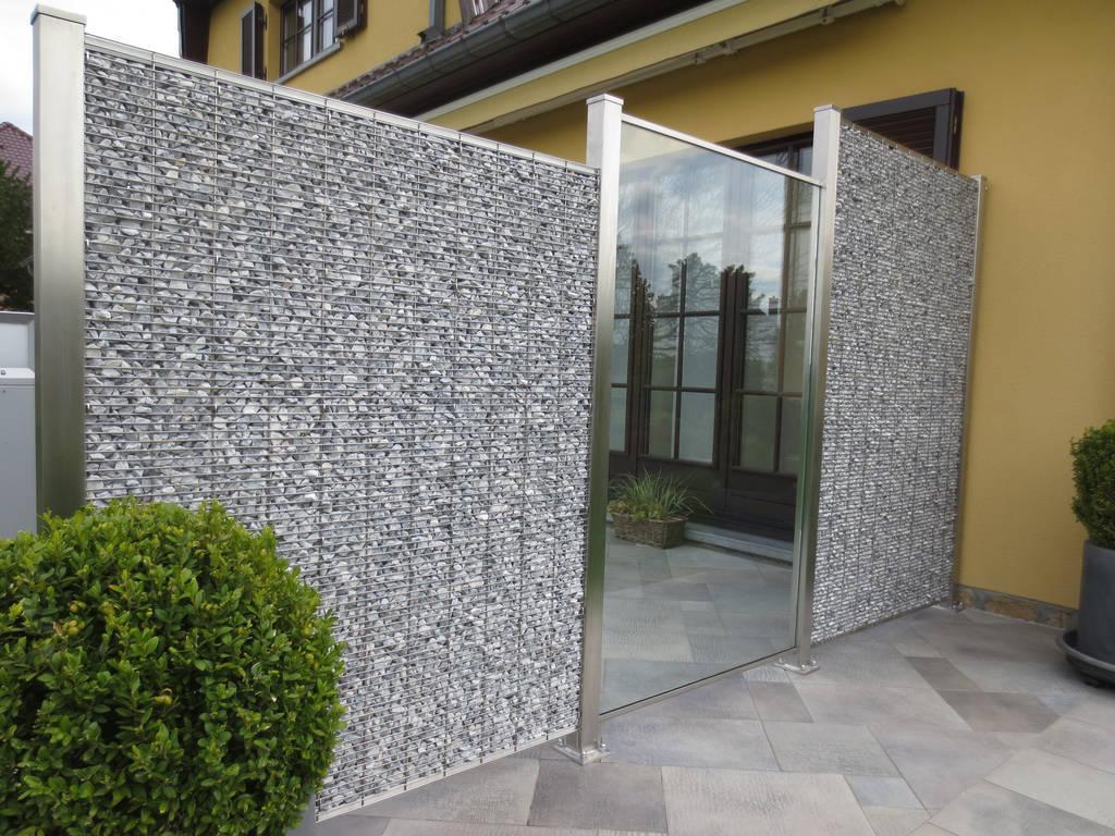 splitt gabionenwand edelstahl steinakzente. Black Bedroom Furniture Sets. Home Design Ideas