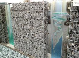 Glaskunst Gabionenwände-Heusweiler