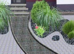 Nacher Bild einer fotorealistischen Gartenplanung