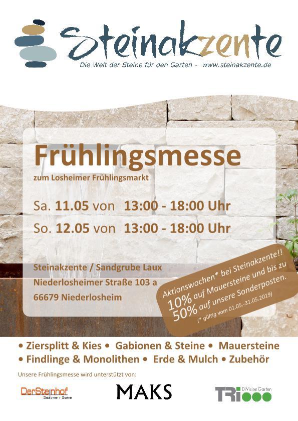 Frühlingsmesse in Niederlosheim 11. und 12.05.2019 und Rabattwochen